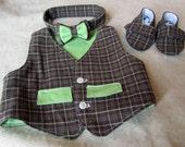 Vest, Baby Boy Shoes, Bow Tie Sewing Pattern Bundle.  3 Patterns.