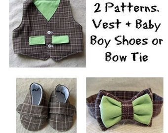 Pattern Bundle: Vest plus Baby Boy Shoes or Bow Tie Sewing Pattern Bundle. 2 Patterns