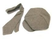 Tweed newsboy hat and tie set, boy, 6 to 12 months