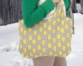 Reversible Tote with Mini Wallet, Mustard Yellow and Grey