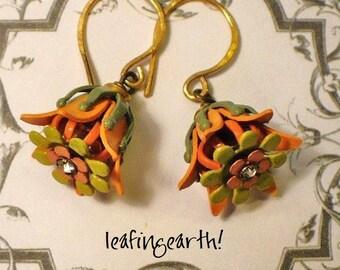 TANGERINE BLOSSOMS  Enamel Flower Earrings