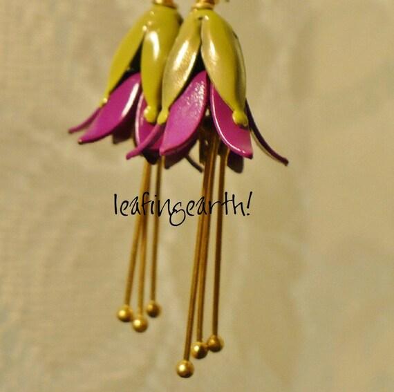 enamel flower earrings FUCHSIA stamen dangle