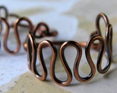 ZIGZAGS copper wire earrings antiqued polished handworked