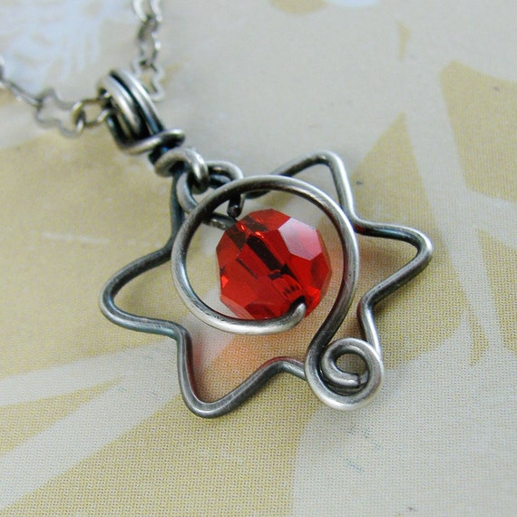 BIRTHSTONE necklace for july ruby red swarovski wrapped in jewish sterling silver star of david with spiral on sterling chain