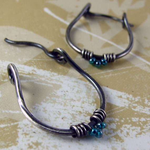 CLASSIC sterling silver hoops ovals teal green blue tiny japanese bead triads