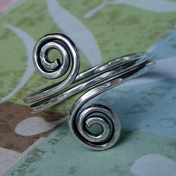 WHIRLPOOLS sterling silver handforged spirals textured antiqued ring