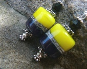 Black, Blue and Yellow Lampwork Earrings