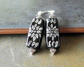 Hand Painted Glass Bead Earrings With Silver Beads