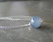 Smokey  Grey Glass Bead On Sterling Silver Chain