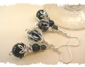 Black Earrings, Lampworks and Cats Eyes