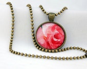 Flower Pendant, Antiqued Brass, Photography, Necklace, Photo Jewelry