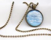 Blue Sky And Fluffy Clouds Pendant, Antiqued Brass, Photography, Necklace, Photo Jewelry