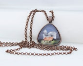 Beach Lighthouse, Triangle Pendant Necklace, Vintage Copper, Photography, Photo Jewelry