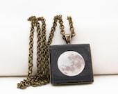 Super Moon Pendant Necklace, Vintage Bronze, Photography, Photo Jewelry