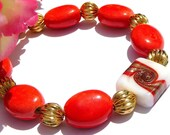 Bright Red Bracelet, Vibrant Fancy Glass Beads