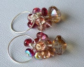 Red. Pink And Beige Cluster Earrings