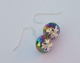 Purple Metalic Glass, Simplicity Earrings