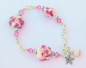 Pink Swarovski Crystals Teamed With Pink Swirling Lampwork Beads, A Girls Dream, Bracelet