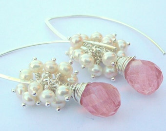 Sterling Silver Wire Wrapped Earrings With  Rainbow Opalite Briolettes Accompanied By Pale Pink Freshwater Pearls