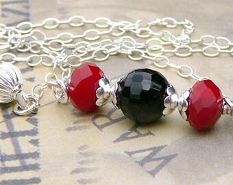 Ruby Quartz And Black Agate Necklace