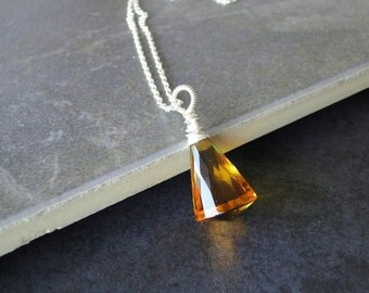 Orange Citrine AAA Briolette Wire Wrapped Necklace On A Sterling Silver Chain