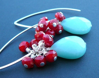 Sterling Silver Wire Wrapped Earrings With  Amazonite And A Cluster Coral