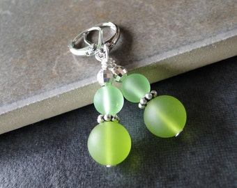 Green sea glass earrings - a creation for all seasons