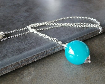 Dark, Turquoise Green Glass Bead On Sterling Silver Chain