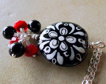 Hand Painted Glass Bead Necklace With Multi Faceted Red And Black Glass Beads