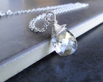 Sparkling Swarovski Crystal  Briolette, Wire WrappedNeckalce, On A Sterling Silver Chain. (400)
