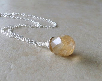 Coffee Quartz Teardrop, Wire Wrapped On A Sterling Silver Chain, Necklace