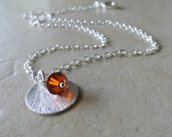 Flame Red Swarovski Crystal With A Sterling Silver Textured Circle On A Sterling Silver Chain, Necklace