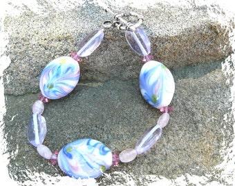 Pastel Pink And Blue Lampwork Bracelet