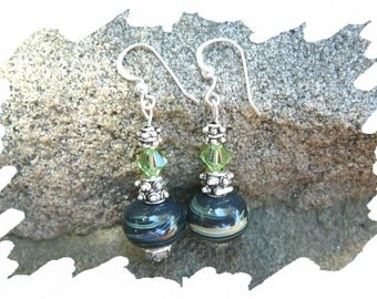 Green With Envy, Lampwork Earrings