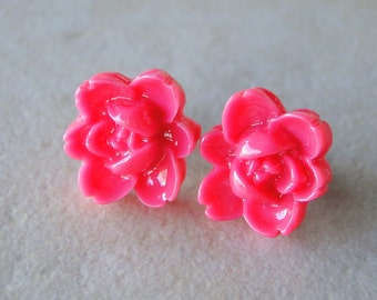 Bright Pink Carved Rose Silver Plated Studs