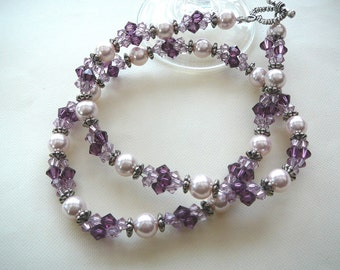 Purple Passion, Swarivski Crystals, Glass Pearls Necklace