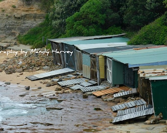 View From Above Of Fishing Huts, Bulli, New South Wales, Australia, 8x6, Home Decoration