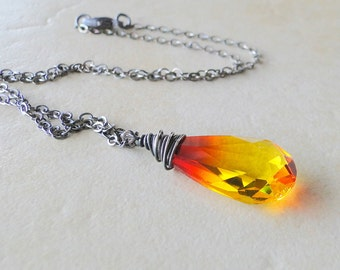 Fire Opal Swarovski Crystal  Briolette, Wire Wrapped Necklace, On A Sterling Silver Chain (427)