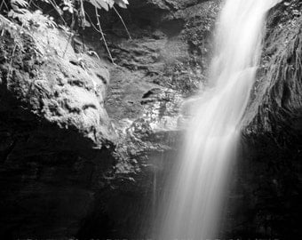 Black and White Waterfall Photograph, Bulcamatta Falls, Burralow Camping Site, Near Bilpin, New South Wales, Australia, 9X6 Photograph