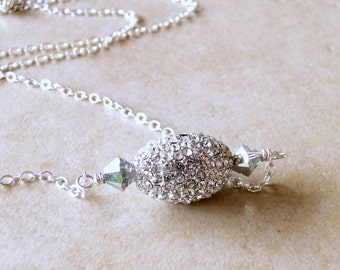 Diamante Ball With Swarovski Crystals Necklace, Romantic Sparkling Necklace