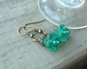 Frosted Green Czech Bell Flower Earrings