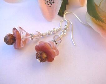 Frosted Pink Flower Earrings (Silver)