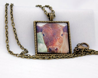 Calf Pendant, Antiqued Brass, Photography, Necklace, Photo Jewelry, Farm Animal