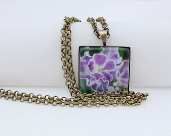 Purple Flower Necklace, Square Pendant, Antiqued Bronze, Photography, Photo Jewelry, Flower Pendant