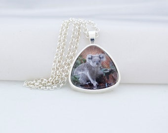 Koala Bear Triangle Pendant Necklace, Silver Tone, Photography, Photo Jewelry