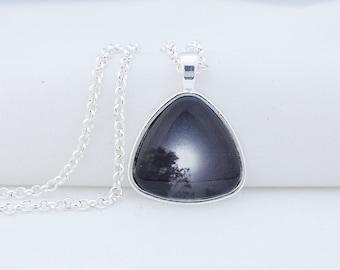 Full Moon Pendant Necklace, Shiny Silver Tone, Photography, Photo Jewelry, Triangle Pendant