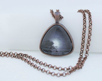Shining Moon Pendant Necklace, Vintage Copper, Photography, Photo Jewelry, Triangle Pendant