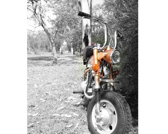 Honda Z50Z 1972, Monkeybike, Black and White With A Dash Of Colour Photograph, 9x6