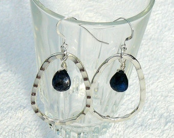Blue Labradorite Wire Wrapped Earrings With Large Hammered Metal Oval