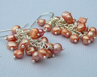 Orange Freshwater Pearls Cluster Earrings